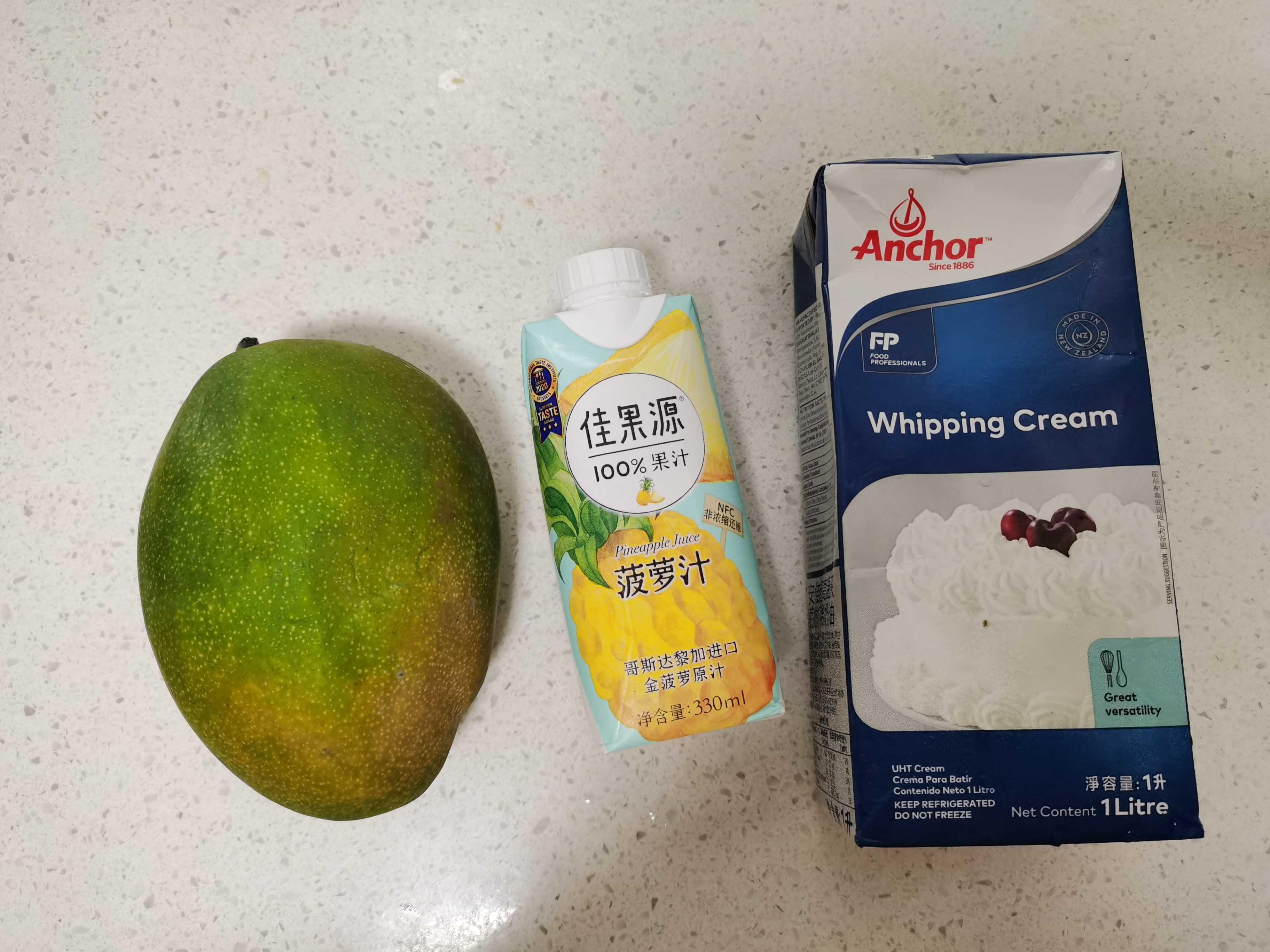 雪顶芒果菠萝汁的做法大全