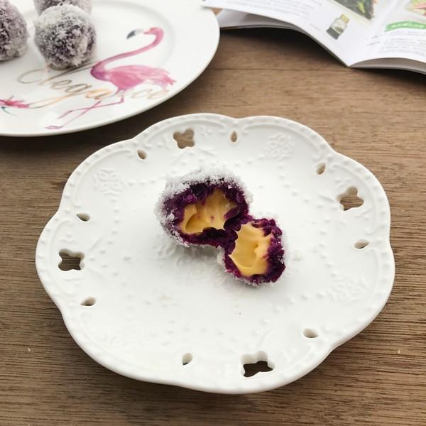 芝士爆浆紫薯球+丘比沙拉汁成品图