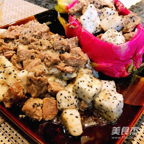 火龙果黑椒牛肉粒的简单做法