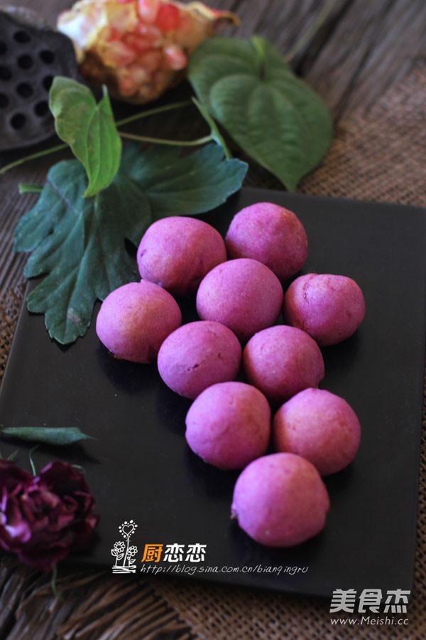紫薯红豆球成品图