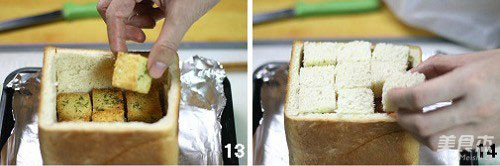 奶酪培根吐司堡的步骤
