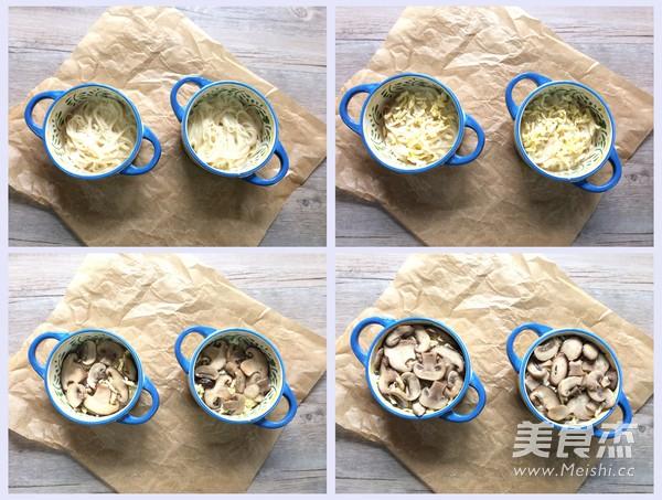 鲜菇芝士焗面条的步骤
