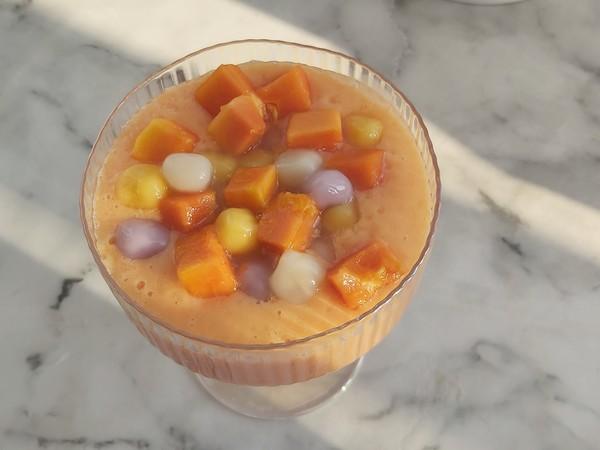 小丸子木瓜奶昔,周末养颜小甜品怎么吃