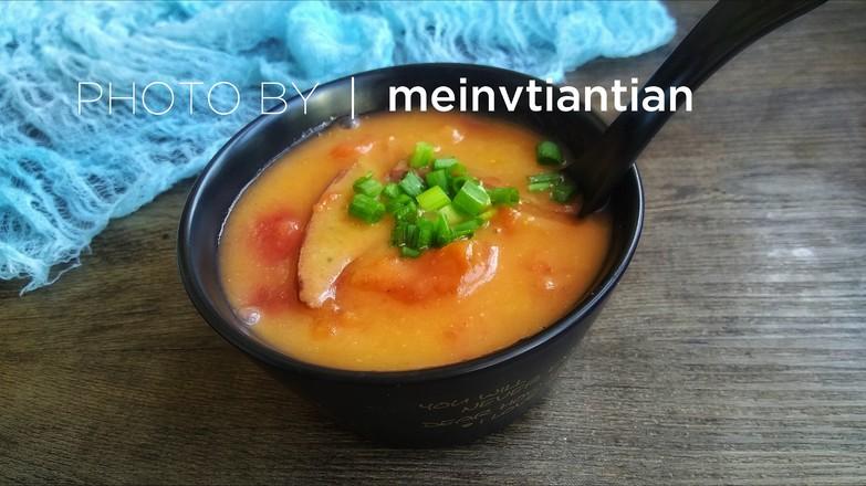 番茄猪肝糯米粉浓汤怎么煸