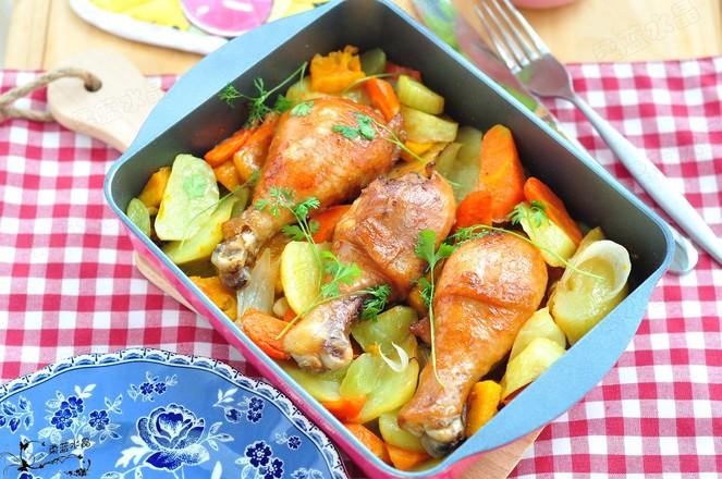 鸡腿烤时蔬成品图