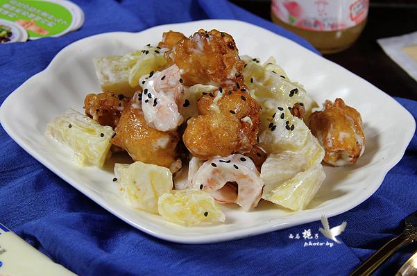 菠萝油条虾怎样做