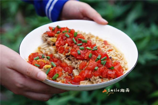 肉末茄汁金针菇成品图