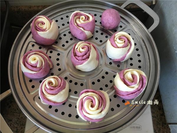 紫薯双色玫瑰馒头,奶香味十足,美丽浪漫!怎样炖