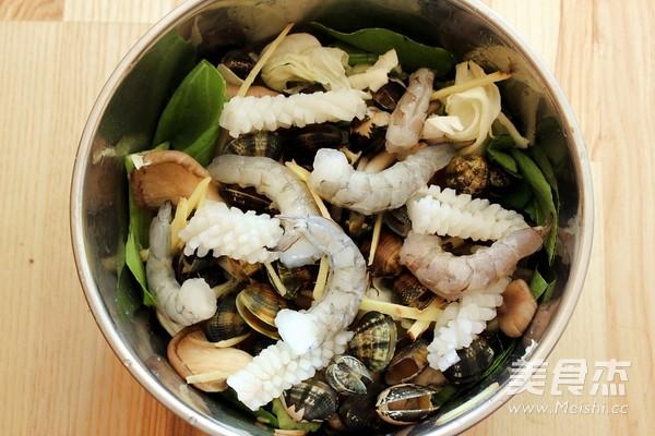 酒蒸海鲜野菜的做法图解