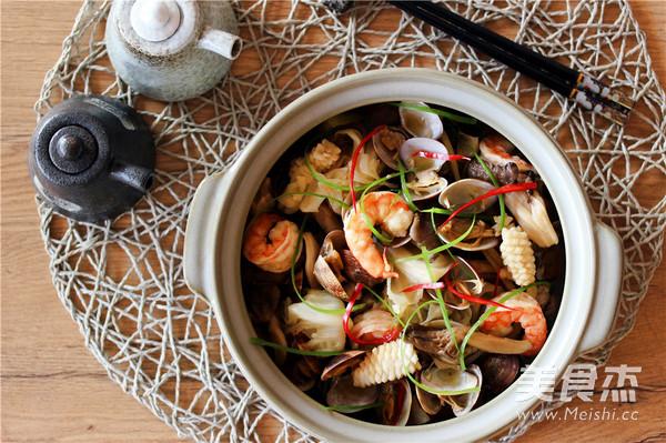 酒蒸海鲜野菜的简单做法
