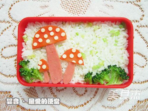 卡通蘑菇可爱便当怎么吃