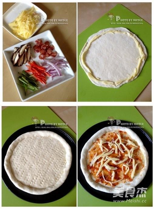 风味腊肠芝心披萨的家常做法