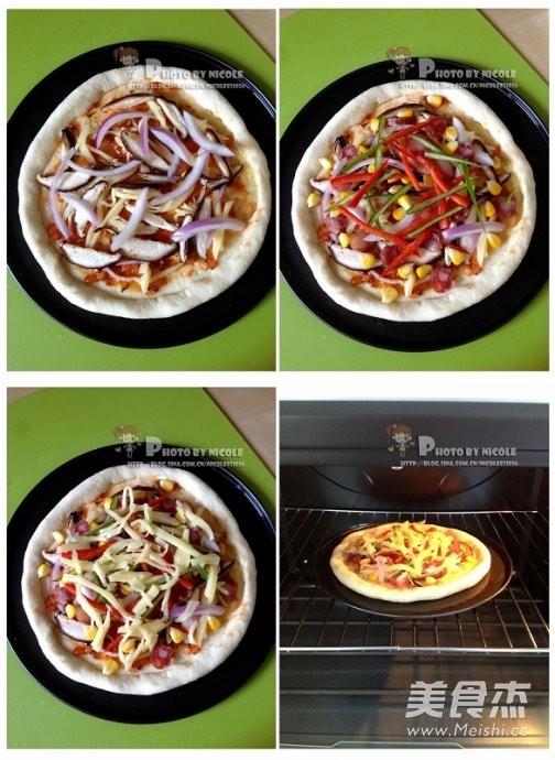 风味腊肠芝心披萨的简单做法