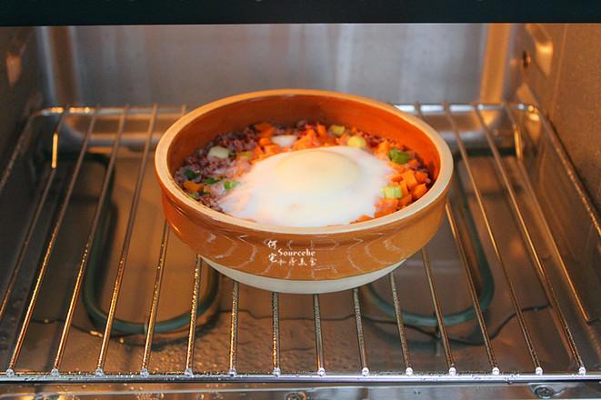 太阳蛋红米蒸饭的步骤